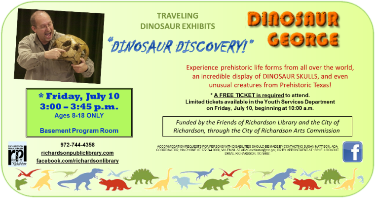 Dinosaur George Traveling Exhibit ages 8-18