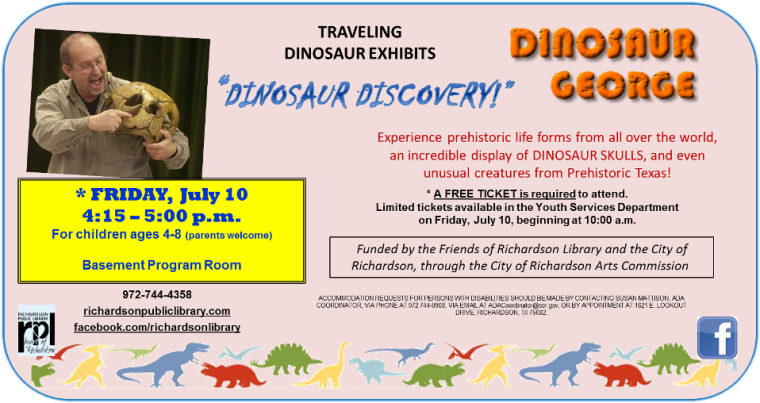 Dinosaur George Traveling Exhibit ages 4-8