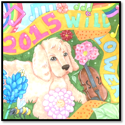 Child's picture of a puppy dog with a Wildflower Festival banner