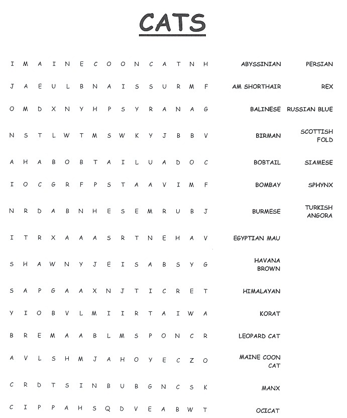 CAT WORD SEARCH