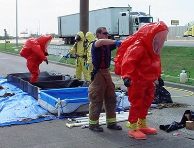 photo of hazard suit being decontaminated