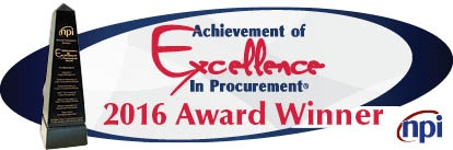 Graphic showing 2016 Winner of the Achievement of Excellence in Purchasing
