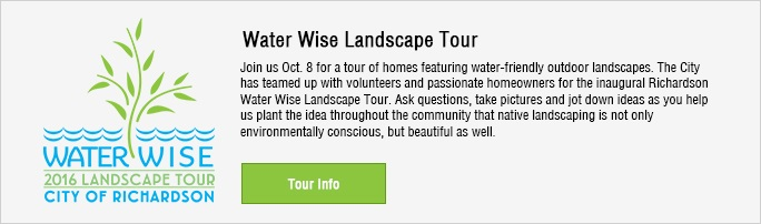 Water wise Landscape tour . Join us October 8 at the Richardson Service Center.