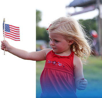 Picture of Girl Holding a Flag