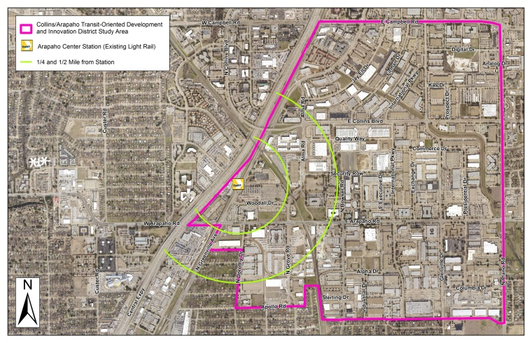 COR Collins Arapaho TOD and Innovation District - Study Boundary Map