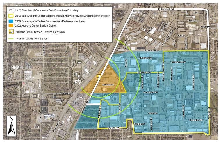 COR Collins Arapaho TOD and Innovation District - Past Planning Efforts Map