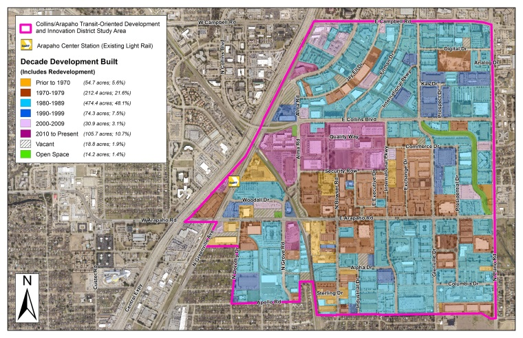 COR Collins Arapaho TOD and Innovation District - Decade Development Built Map