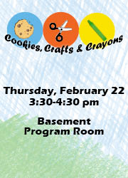 2018 Cookies Crafts and Crayons Special Events Calendar Feb