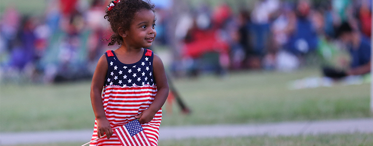 Girl with American Flag Dress
