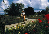 photo of woman riding bike on public trail