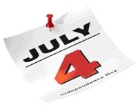 calendar page of july 4th