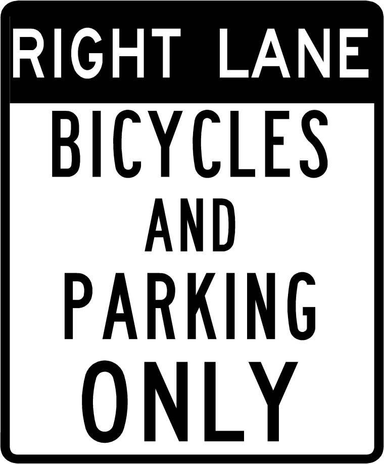 Bicycle Lane with Parking sign