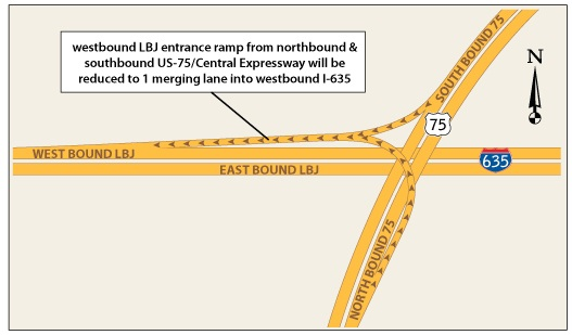 LBJ-75 Lane Closures Map