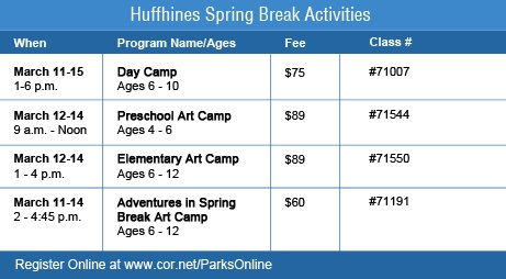 Huffhines Spring Break Activities 2013