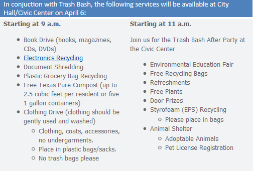 Trash Bash 2013 Schedule