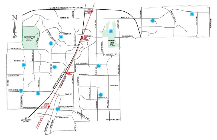(Map of Richardson mosquito testing sites.)