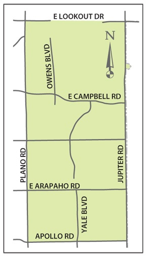 -	E. Lookout Dr. south to Apollo Rd.; Plano Rd. east to Jupiter Rd.