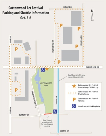 Cottonwood Art Fest Shuttle Map
