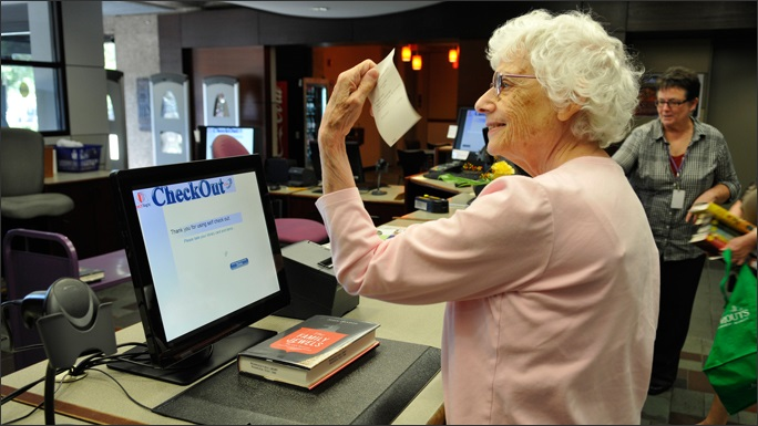 Picture of the first person to use the RFID self checkout system