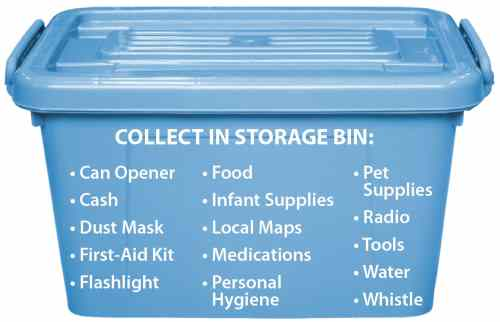 Storage Bin of Emergency Supplies such as medications, food, can opener, water, flashlight, pet supplies, and cash
