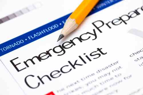 Emergency Preparedness Checklist with pencil build a kit with supplies