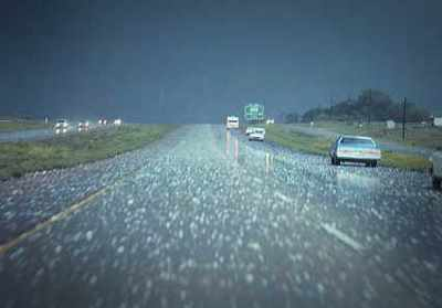 Hail on Roadway with Cars Pulled Over
