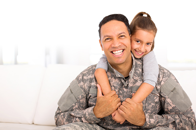 Soldier and daughter